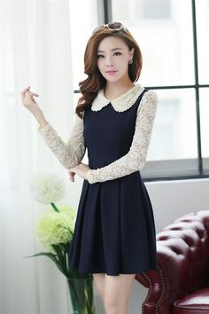 Dress DS3401 Dark Navy + Belt - Tamochi - Toko baju wanita murah dan grosir, fashion aksesoris #fashion #korea #olshop