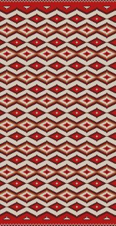 PATRON PUNTO CRUZ   (Foto del Bordado Virtual)   Alfombra Andina   Para bordar en Lanas   162 Puntos de Ancho   317 Puntos de Alto   Utiliza 4 Colores