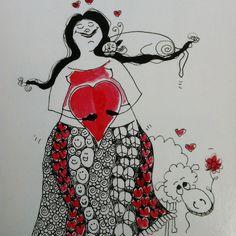 Vær deg selv. Du er verdifull og flott ❤️be yourself, you are valuable and great #myart #humor #theredladies #derødedamene #artcard #stavangerSUS #janemonicatvedt #jæren #drawing #veiledningssenterforpårørende #love #rus