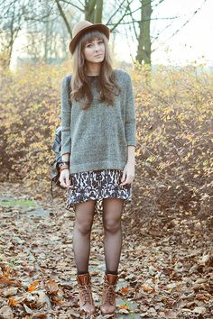 @roressclothes closet ideas #women fashion outfit #clothing style apparel Oversized Sweater and Printed Dress