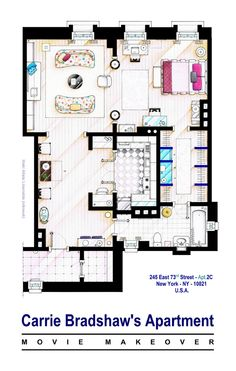 "Carrie Bradshaw apt. (Sex and the City movies) . This is a house-plan based in the apartment of Carrie Bradshaw after the makeover made for the ""Sex & the City"" movies. . (There are some differences from first to second movie, specially in bedding and this floorplan is a mix of both). . If you want to buy an original drawing, especially handmade for you, contact me at ializar@hotmail.com or visit my ETSY store: https://www.etsy.com/shop/TVFLOORPLANSandMORE ."