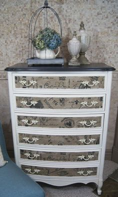 Dresser with Fabric Inlay