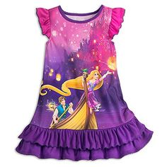 [Golden slumbers]Your sleepy princess can let her hair down and relax in regal splendor in this Rapunzel Nightshirt. Flynn Rider and Pascal join Rapunzel on this sleepwear inspired by the memorable boat scene from <i>Tangled</i>. Little Girl Gowns, Gowns For Girls, Little Girl Fashion, Toddler Fashion, Kids Fashion, Girls Dresses, Rapunzel, Girls Pajamas, Disney Pajamas