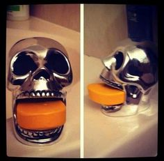 Skull soap holder. Haha! Soap in your mouth.