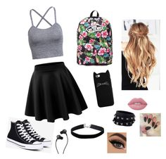 """roupa na escola"" by dani-granco on Polyvore featuring moda, Vans, Miss Selfridge, Valentino, Lime Crime, Converse e Marshall"