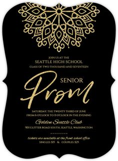 Elegant faux gold glitter curtain prom invitation invitations elegant faux gold glitter senior prom invitation stopboris Image collections