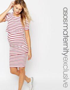 Image 1 ofASOS Maternity NURSING Double Layer Bodycon Dress in Stripe