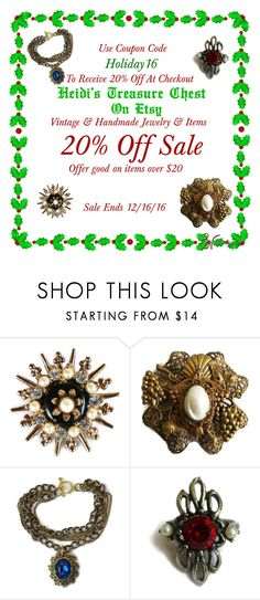 """Holiday Sale"" by heidi-calamia-galati ❤ liked on Polyvore featuring vintage, vintagejewelry, handmadejewelry, Christmassale and holidaysale"