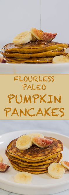These flourless & dairy-free pumpkin pancakes are paleo-friendly and are the perfect festive autumn breakfast.