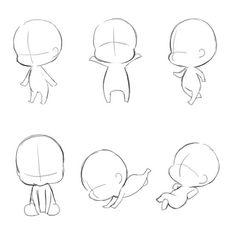 Chibi Girl Drawings, Art Drawings Sketches Simple, Manga Drawing Tutorials, Art Tutorials, Chibi Body, Chibi Sketch, Art Prompts, Drawing Reference Poses, Drawing Base