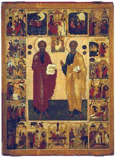 Апостолы Петр и Павел, с житием Дерево, темпера.