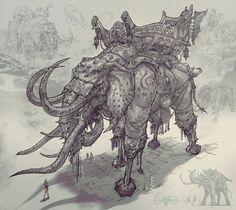Creature Concept Art, Creature Design, Fantasy Paintings, Fantasy Artwork, Weird Creatures, Fantasy Creatures, War Elephant, Elephant Illustration, Fantasy Monster