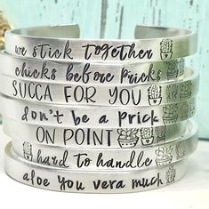 Succulent Sayings Cuff Bracelet - Cactus Jewelry - Succulent Jewelry Gifts - Personalized - Personalized Cuffs - Valentines day Gift Stamped Jewelry, Metal Jewelry, Custom Jewelry, Jewelry Stamping, Handmade Necklaces, Handmade Jewelry, Succulent Gifts, Earring Display, Wholesale Beads