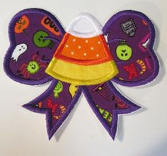 Halloween Iron On Applique  Candy Corn Bow by BigBlackDogDesigns