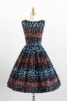 vintage 1950s dress / 50s dress / Black, Blue, and Brown Floral Print Cotton Sundress