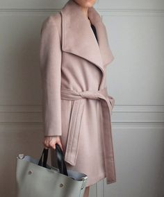 Shop / Etsy / Taupe belted oversize lapel wool coat {double-face cashmere, other colours are available}