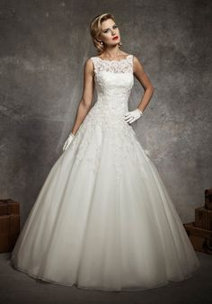 Lace and tulle ball gown with dropped waist, bateau neckline, and deep V back | Justin Alexander | Style: 8630