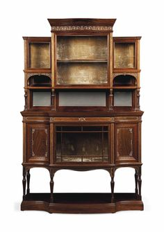 A VICTORIAN IVORY-INLAID ROSEWOOD DISPLAY CABINET -  ATTRIBUTED TO COLLINSON & LOCK, CIRCA 1880