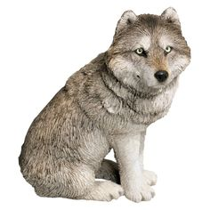 Sandicast Mid Size Gray Wolf Sculpture - Sitting - MS501