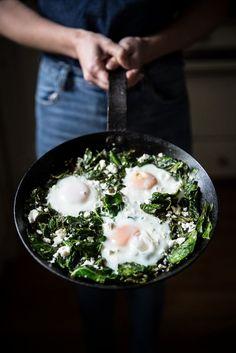 Local Milk | garlic ginger collard greens + eggs & feta | @andwhatelse