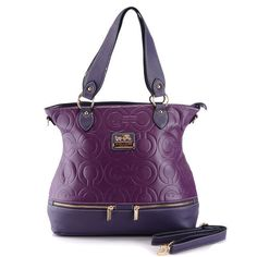 #COACHSTORE Coach Hamptons In Printed Signature Large Purple Totes AEM