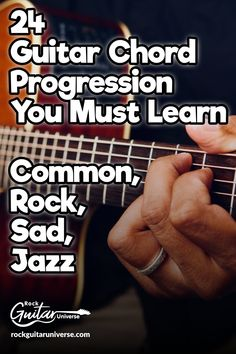 Guitar chord progression isn't an easy topic. But here are 24 progressions in va. Guitar chord progression isn't an easy topic. But here are 24 progressions in various topic with examples to make it Learn Acoustic Guitar, Guitar Chords Beginner, Easy Guitar Songs, Guitar Chords For Songs, Music Chords, Jazz Guitar, Guitar Tips, Blues Guitar Chords, Guitar Strumming