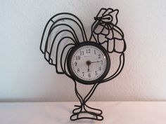 "Vintage Black Metal ""Rooster"" Quartz Clock by thingsbybrinda on Etsy"