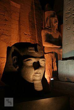 Pharaoh head illuminated at night, Luxor, Egypt