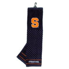 """NCAA Syracuse Embroidered Team Golf Towel by Team Golf. $14.94. Embroidered logo. Checkered scrubber design. 100% cotton. 16"""" x 22"""" tri-fold embroidered towel. Swivel clip for easy attachment and removal from golf bag. Keep your clubs clean while supporting your favorite collegiate team with this officially licensed NCAA® embroidered golf towel from Team Golf. The tri-fold, embroidered towel features a hook and grommet and measures 16"""" x 25"""".. Save 12% Off!"""