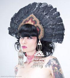 Black Lace Fan Kokoshnik Headdress, Etsy.