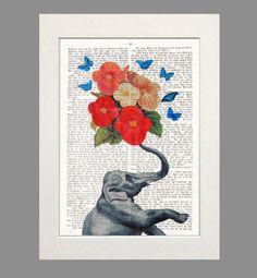 Elephant Elefant in love Elephant Art Trumpeter Butterflies Flowers Dictionary Art  giclee print poster art painting wall decor