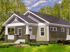 Craftsman Bungalow with Porches Front and Back - 50161PH | Architectural Designs - House Plans Bungalow Porch, Craftsman Bungalow House Plans, Small Cottage House Plans, Small Bungalow, Bungalow Homes, Craftsman Style Homes, Craftsman Bungalows, Dream House Plans, Cottage Homes