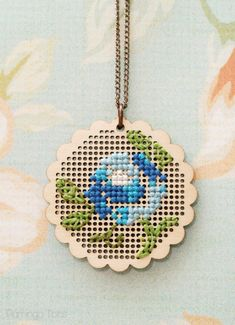 DIY Floral Cross Stitch Necklace, Wood Pendant, cute mother's day gift