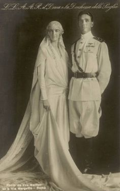 Prince Amedeo of Italy, Duke of Apulia (later Duke of Aosta) and Princess Anne of Orleans, Nov. The Duke was a commander of forces in East Africa during WWII. He was respected even by his opponents. Royal Brides, Royal Weddings, Vintage Bridal, Vintage Love, Vintage Weddings, Royals Today, Casa Real, Military Photos, Royal House
