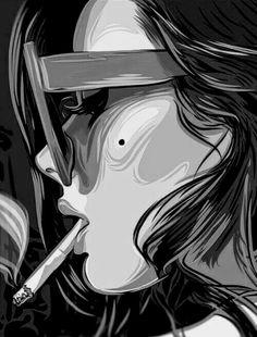 Mujer rostro perfil cigarro anteojos Smoke Drawing, Smoke Painting, Pop Art Drawing, Sexy Painting, Smoke Art, Art Drawings, Psycho Wallpaper, Pop Art Wallpaper, Smoke Wallpaper