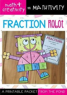 Fraction Robot Mathtivity Combine a lesson on fractions (halves and quarters) with craft and creativity! This packet will provide you with template pieces to make a cute robot craft! 3rd Grade Fractions, Teaching Fractions, Fourth Grade Math, Second Grade Math, Math Fractions, Dividing Fractions, Equivalent Fractions, Grade 2, Comparing Fractions