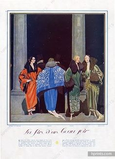 Pierre Brissaud 1922 Martial & Armand, Premet, Worth, Jean Patou, evening coats, Velvet, Embroidery