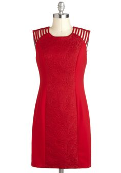 Always On My Carmine Dress - Red, Cocktail, Sheath / Shift, Sleeveless, Mid-length, Solid, Cutout, Pinup, Holiday Party