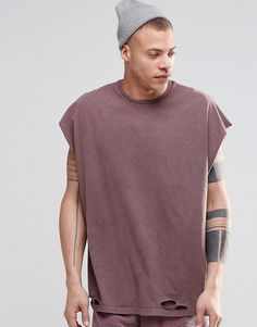 Image 1 of ASOS Super Oversized Sleeveless T-Shirt With Distressing In Acid  Wash Pink
