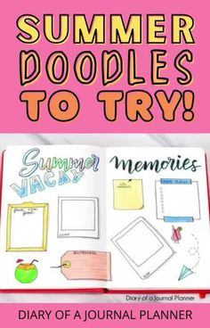 Your summer bullet journal spreads are sorted with these adorable summer-themed doodles! #summer #doodles #Bujo Easy Doodles Drawings, Easy Doodle Art, Cool Doodles, Doodle Ideas, Simple Doodles, Book Drawing, Drawing Ideas, Happy Birthday Doodles, Doodle For Beginners