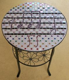 Music table by SMA member 2010.  #bistrotable #seattlemosaicarts #mosaics #mosaictable