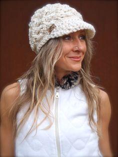 Cream SLOUCHY beanie crochet Slouch Visor hat White Beanie NEWSBOY hat Bohemian hat Hippie Beanie with brim