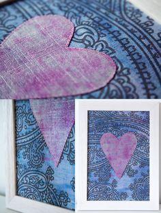 Items similar to Textile Art- Hand-dyed Heart- Pink Blue Linen Artwork Boho on Etsy Home Decor Accessories, Textile Art, Pink Blue, June, Textiles, Colours, Boho, Heart, Artwork