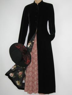 LAURA ASHLEY VINTAGE GOTHIC / STEAMPUNK BLACK VELVETEEN & SILK DRESS COAT,10 #LAURAASHLEY #OtherCoats #Casual