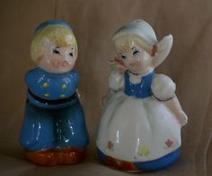 Lefton Dutch boy and girl salt and pepper shakers old