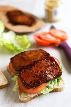Tofu bacon BLTs recipe - this tofu bacon is SO good! and it's easy to make too! Perfect served in a classic BLT sandwich. Tofu bacon is vegan and gluten-free. Best Tofu Recipes, Veggie Recipes, Whole Food Recipes, Vegetarian Recipes, Cooking Recipes, Healthy Recipes, Firm Tofu Recipes, Bacon Recipes, Vegetarian Cooking