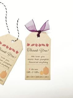 Fall Wedding Napkin Ring Tag Gift Tag Cards - Drinking Thank You Tags - Favor Tags - Set of 50 tags #---
