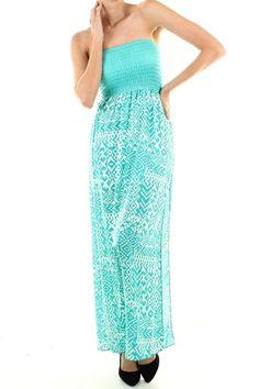 $31.95 Maxi Dress Tribal Mint - Kelly Brett Boutique