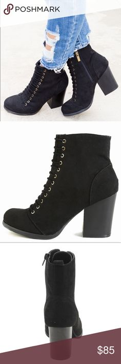 """Luxe Lace Up Bootie In love with these Fall chunky heeled black lace up booties! In a trendy combat style, they are made of faux suede with a side zipper entry. They pair perfectly with jeans, a black suede skirt or leggings! Perfect for Halloween too! Fits true to size. Heel height: 3.75"""" ✨SHIPS IN 1 WEEK✨ ▫️Add to Bundle"""" to add more items in my closet or """"Buy"""" to checkout here with your size.  ↓Follow me on Instagram ↓         @ love.jen.marie Jennifer's Chic Boutique Shoes Ankle Boots…"""