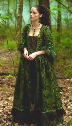 "Another view of the Mary ""Beetle"" dress from season 1. Period Corsets boned bodice with sleeves. Salem costumers added tons of beetle wings to create this memorable scene stealer."